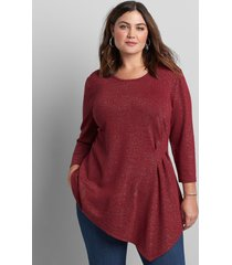 lane bryant women's 3/4-sleeve asymmetrical tunic top 10/12 red