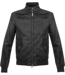 baracuta g9 linen black harrignton jacket brcps0205