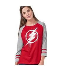 camiseta manga longa feminina the flash logo spray