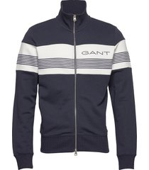 d1.gant stripe sweat zip through sweat-shirt trui blauw gant