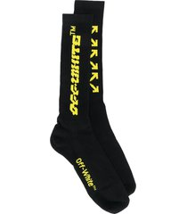 off-white logo mid-length socks - black