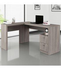 mesa para escritório 2 gavetas carvalho me4129 - tecno mobili