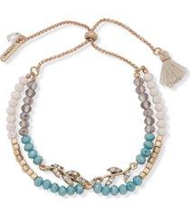 lonna & lilly gold-tone bead & tassel bolo bracelet