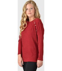 sweater tentation botones burdeo - calce regular