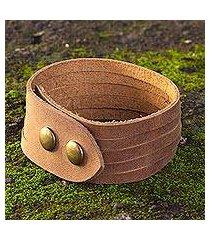 men's leather wristband bracelet, 'equestrian' (mexico)