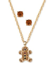 charter club gold-tone crystal gingerbread man pendant necklace & stud earrings set, created for macy's