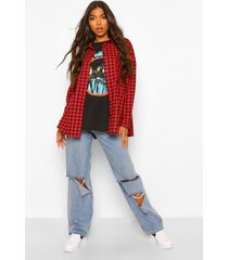 tall extreem oversized geruite blouse, rood