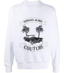versace jeans couture tropical island-print cotton sweatshirt - white