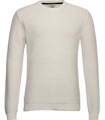 6192621, knit - alexian o-neck stickad tröja m. rund krage vit solid