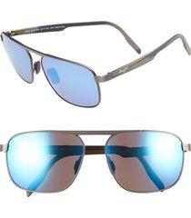 men's maui jim waihe'e ridge 60mm polarized sunglasses - brushed dark gunmetal/ blue