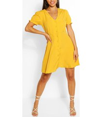 puff sleeve button through skater dress, yellow