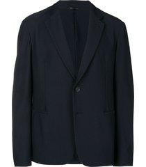 giorgio armani single breasted mesh blazer - blue