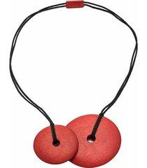natori acacia wood necklace, cayenne, o/s, women's, cotton