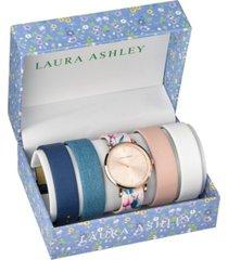 laura ashley rose gold slidethrough interchangeable sleek dial set watch