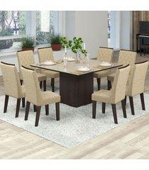 mesa de jantar 8 lugares jóia nogueira/gold/bronze - viero móveis
