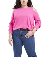 plus size long sleeve cold shoulder snap top