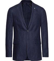 o1. the linen herringb blazer s blazer colbert blauw gant
