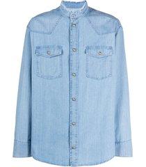 balmain frayed collar denim shirt - blue