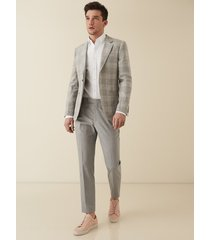 reiss gilly - slim fit checked trousers in grey, mens, size 38