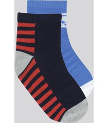 kit de 2 meias estampadas multicor