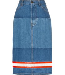 calvin klein 205w39nyc reflective tape denim pencil skirt - blue