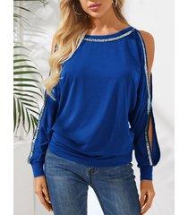 yoins camiseta de manga larga con hombros descubiertos y purpurina azul