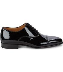 di bianco men's patent leather oxford dress shoes - nero - size 10