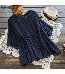 zanzea mujer verano manga corta patchwork tops señoras casual camisa suelta blusa plus -azul marino