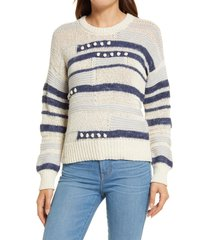 madewell grandover bobble pullover sweater, size x-large in heather denim at nordstrom