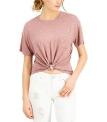 self esteem juniors' cactus printed knot-front ringer t-shirt