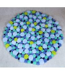 kolorowy dywan z pomponów 105 cm