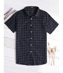 hombres algodón classic cuadros camisa