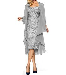 fanmu women's mother of the bride dress with jacket mother party dress silver...