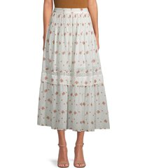 loveshackfancy women's iman pleated floral midi skirt - french cream combo - size 2
