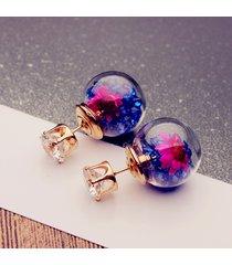 orecchini docli di 2 stili con palloni di vetro in fiore e strass