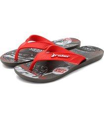 sandalia flip flop gris-negro-rojo colore
