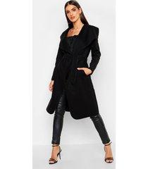 belted shawl collar coat, black