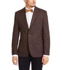 bar iii men's slim-fit burgundy plaid sport coat, created for macy's