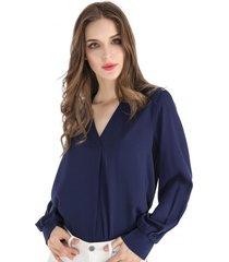 blusa pliegue frontal azul nicopoly