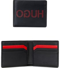 hugo men's record leather logo wallet