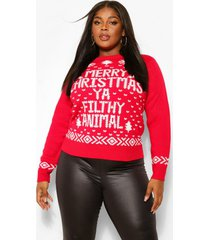 plus merry christmas ya filthy animal trui, red