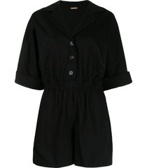 adam lippes wide-leg cotton playsuit - black