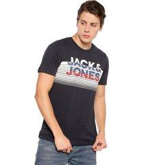 camiseta azul navy-blanco-rojo jack & jones