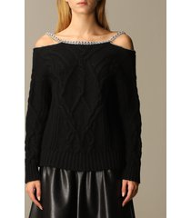ermanno scervino sweater ermanno scervino pullover in cable-knit wool and cashmere blend with rhinestones