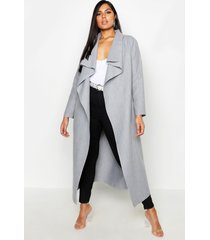 plus maxi length wool look wrap coat, grey