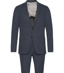 cotton linen suit pak blauw lindbergh