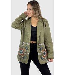 blazer bordado boho verde enigmática boutique