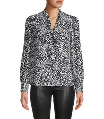 t tahari women's animal-print tieneck blouse - size s