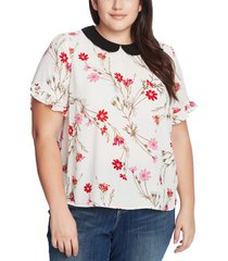 plus size women's cece enchanted wildflower collar blouse, size 1x - white