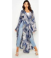 palm print side split kimono, navy